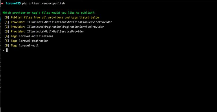 Laravel 5.5 Vendor Publish
